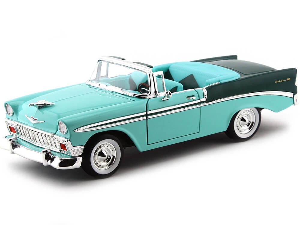1956 Chevrolet Bel Air Open Convertible Verde 1:18 Lucky Diecast 92128
