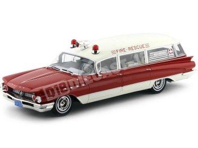 1960 Buick Flxible Premier Ambulancia Rojo-Blanco 1:18 BoS-Models 269 Cochesdemetal.es