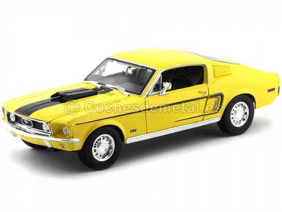 1968 Ford Mustang GT Cobra Jet Amarillo 1:18 Maisto 31167 Cochesdemetal.es