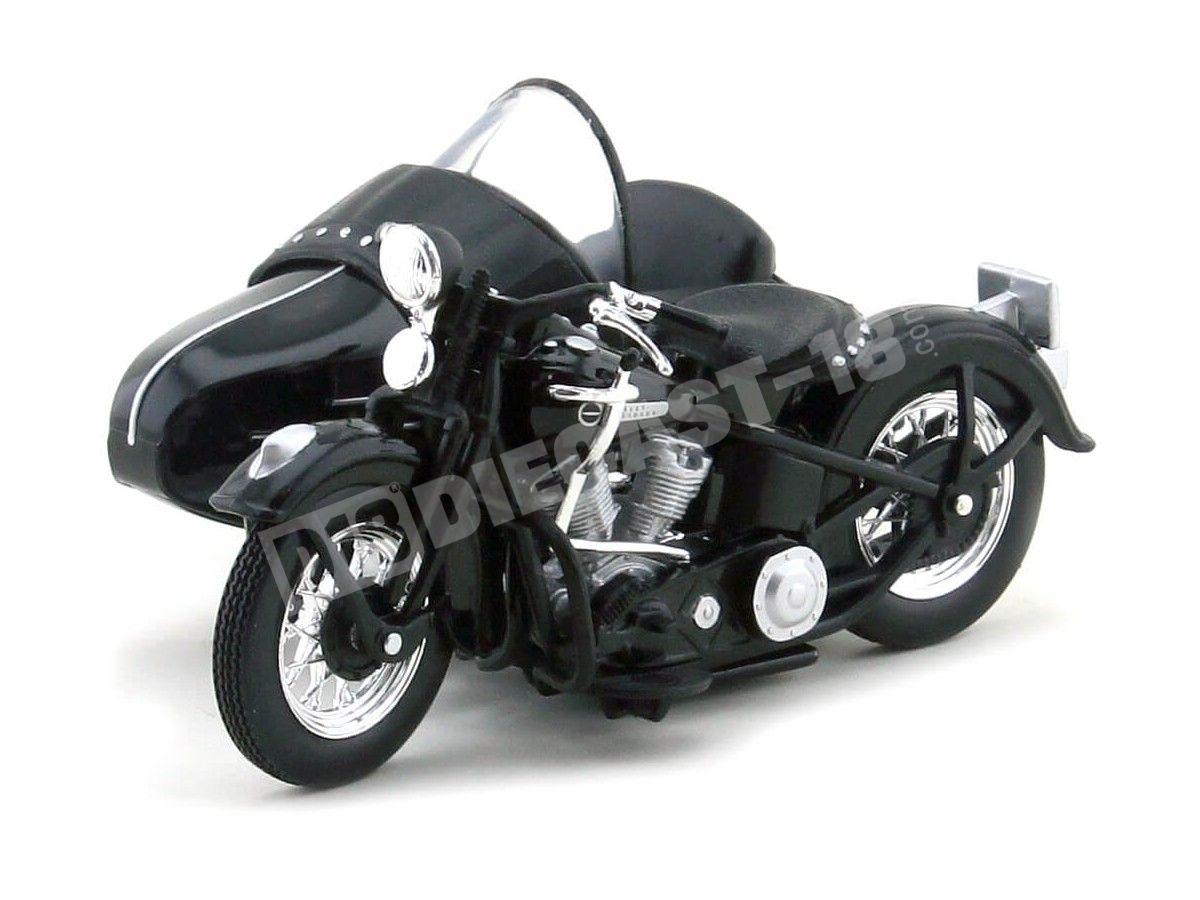 1948 Harley-Davidson Sidecar FL Panhead Negra 1:18 Maisto 03174 Cochesdemetal.es