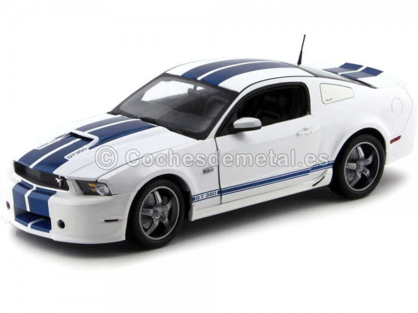 2011 Ford Shelby GT350 Blanco-Azul 1:18 Shelby Collectibles 351 Cochesdemetal.es