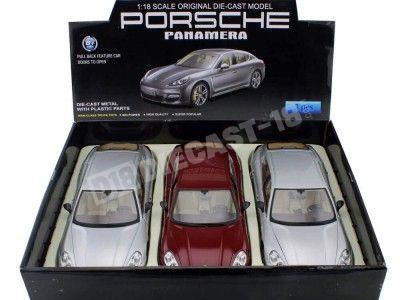 Estuche tres Porsche Panamera 4S Turbo Gris-Rojo 1:18 MZ Models 2017x3 Cochesdemetal.es