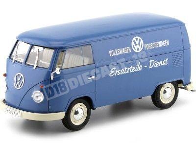 """1963 Volkswagen T1 Microbus Panel Van """"Volkswagen Porschewagen"""" Azul 1:18 Welly 18053 Cochesdemetal.es"""