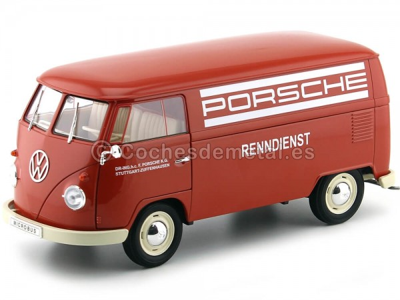 "1963 Volkswagen T1 Microbus Panel Van ""Servicio Porsche"" Rojo 1:18 Welly 18053 Cochesdemetal.es"