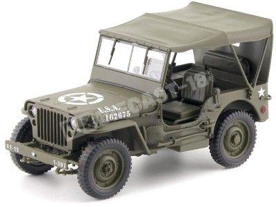 1942 Jeep Willys 1-4 Ton Army Truck Cerrado Verde Caqui 1:18 Welly 18055H Cochesdemetal.es