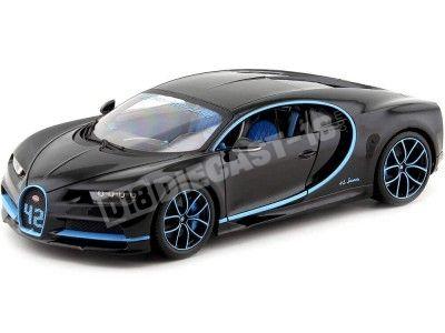 2017 Bugatti Chiron Zero-400-Zero Black-Blue 1:18 Bburago 11040 Cochesdemetal.es