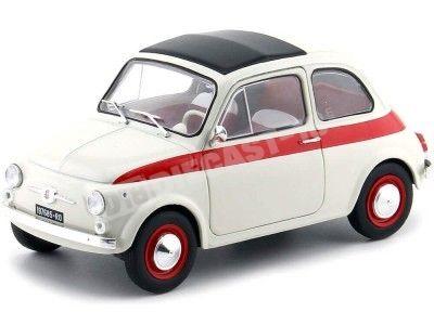 1960 Fiat 500 L Nuova Sport Beige-Rojo 1:18 Solido S1801401 Cochesdemetal.es
