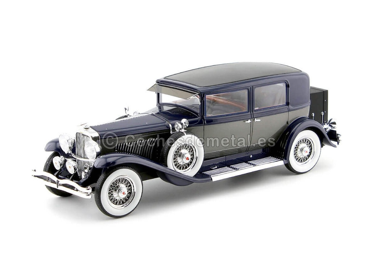 1934 Duesenberg Model J Willoughby Berline Azul-Gris 1:18 Neo Scale 18275 Cochesdemetal.es