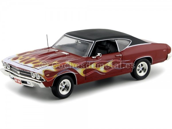 1969 Chevrolet Chevelle SS 396 Maroon-Flames 1:18 Auto World AMM1108 Cochesdemetal.es