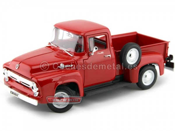 1956 Ford F-100 Pick-Up Rojo Metalizado 1:18 Welly 19831 Cochesdemetal.es