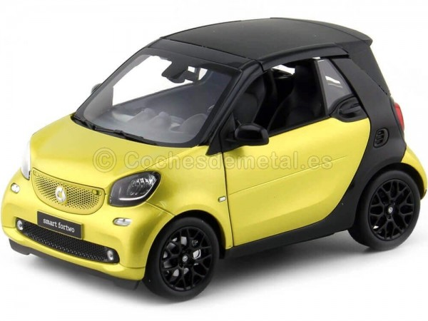 2015 Smart Fortwo Cabriolet (A453) Black/Yellow 1:18 Dealer Edition B66960289 Cochesdemetal.es