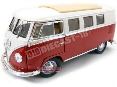 1962 Volkswagen Microbus Combi Type 2 T1 Granate-Blanco 1:18 Lucky Diecast 92328 Cochesdemetal.es