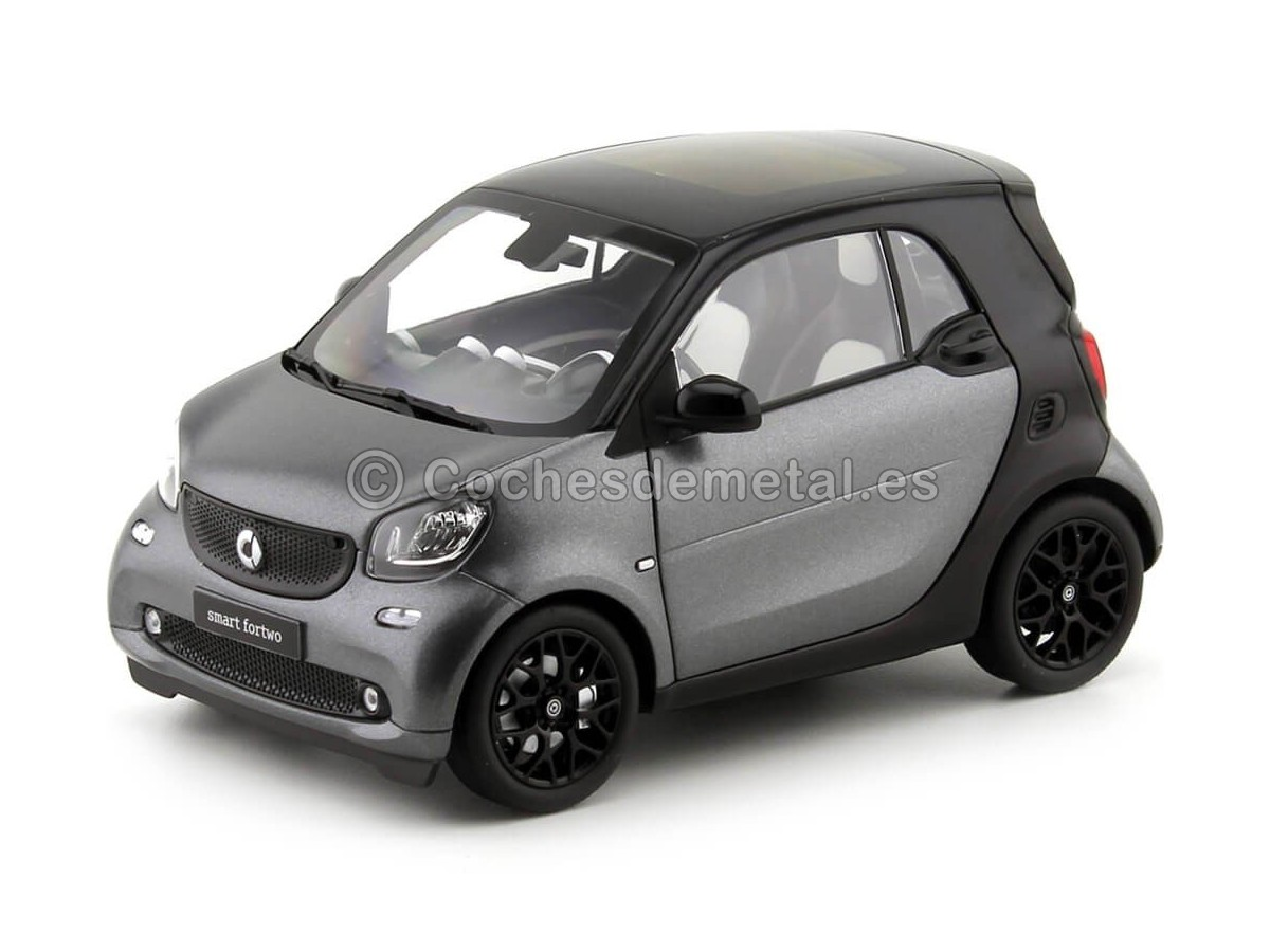 2015 Smart Fortwo Coupe (C453) Black/Grey 1:18 Dealer Edition B66960281 Cochesdemetal.es