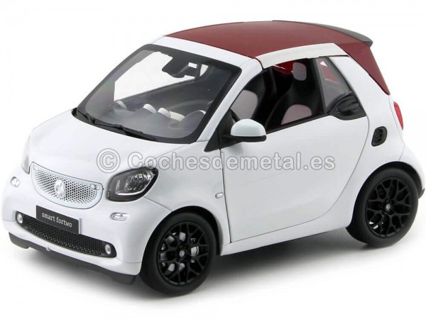 2015 Smart Fortwo Cabriolet (A453) White/White 1:18 Dealer Edition B66960291 Cochesdemetal.es