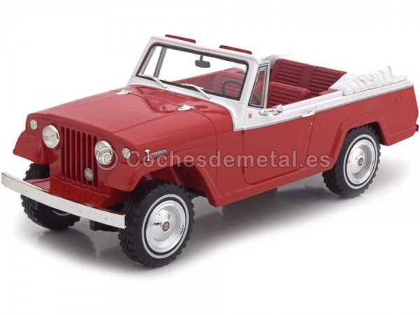 1970 Jeep Jeepster Commando Convertible Red-White 1:18 BoS-Models 340 Cochesdemetal.es