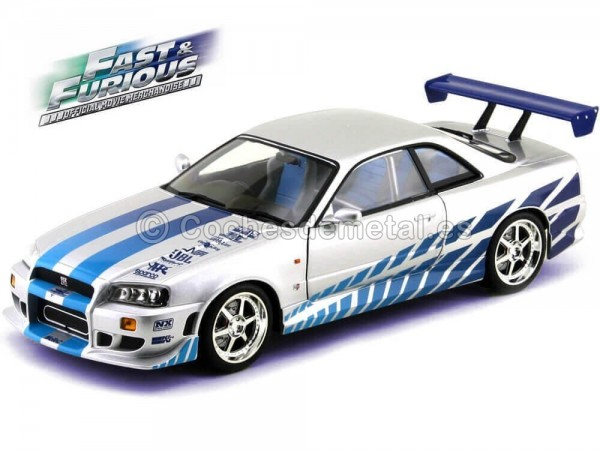 "1999 Brians Nissan Skyline GT-R34 con Luces ""2Fast 2Furious"" 1:18 Greenlight 19041"