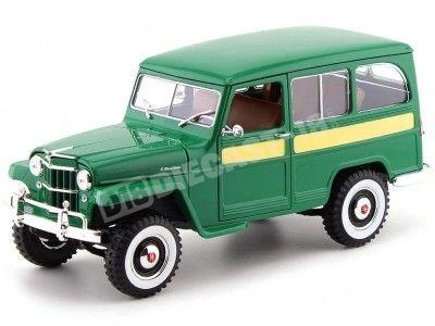 1955 Jeep Willys Station Wagon Dark Green 1:18 Lucky Diecast 92858 Cochesdemetal.es