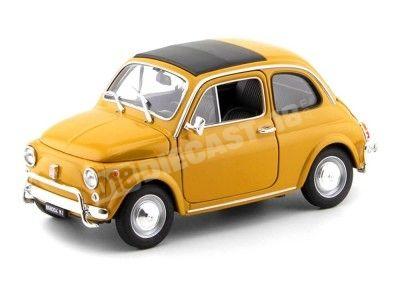 1957 Fiat Nuova 500 Amarillo Oscuro 1:18 Welly 18009 Cochesdemetal.es