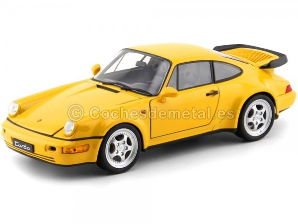 1988 Porsche 911 (964) Turbo Coupe Amarillo 1:18 Welly 18026 Cochesdemetal.es