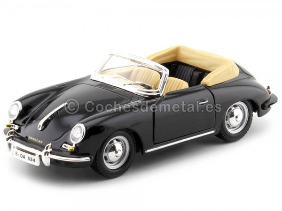1961 Porsche 356B Cabriolet Negro 1:24 Bburago 22078 Cochesdemetal.es
