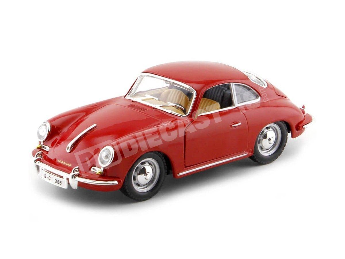 1961 Porsche 356B Coupe Rojo 1:24 Bburago 22079 Cochesdemetal.es