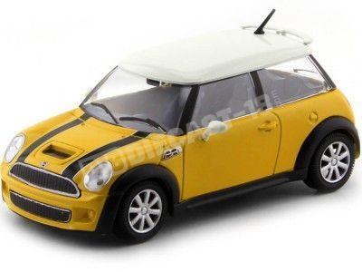 2001 Mini Cooper S Amarillo-Blanco 1:24 Bburago 22124