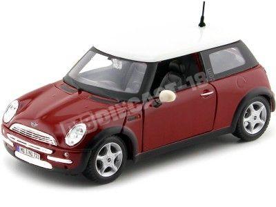 2004 Mini Cooper R50 Rojo-Blanco 1:24 Maisto 31219 Cochesdemetal.es