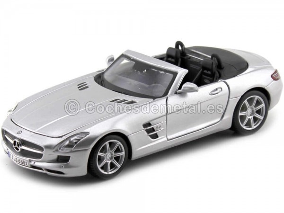 2011 Mercedes-Benz SLS AMG 6.3 Roadster Gris Metalizado 1:24 Maisto 31272