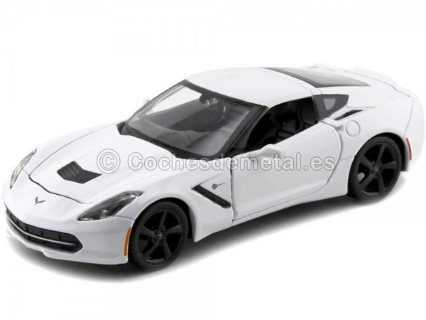 2014 Chevrolet Corvette Stingray Coupe Blanco 1:24 Maisto 31505 Cochesdemetal.es