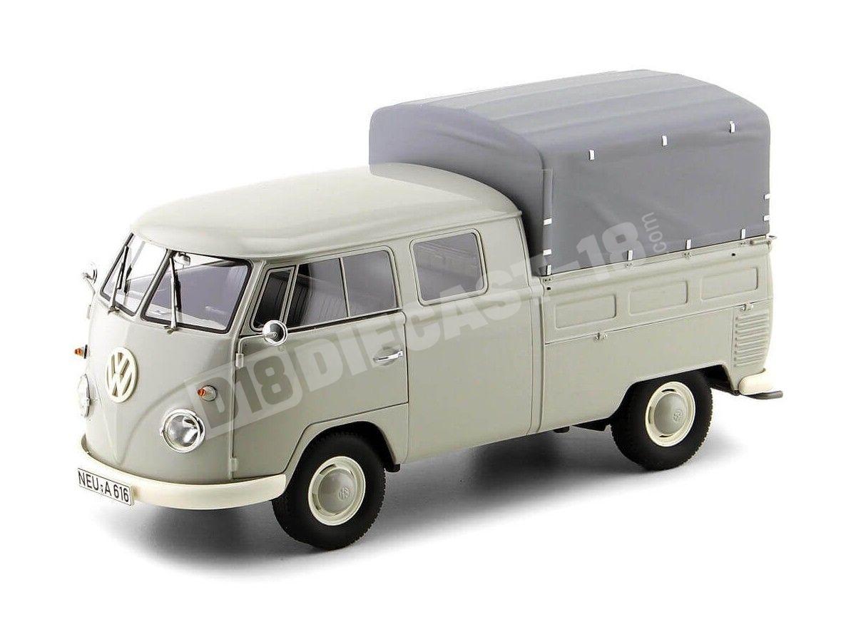 1963 Volkswagen T1 DoKa Doble Cabina Con Caja Gris Claro 1:18 Premium ClassiXXs PCL30080 Cochesdemetal.es