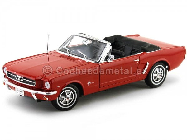 1964 Ford Mustang 1-2 Cabrio Rojo 1:18 Welly 12519 Cochesdemetal.es