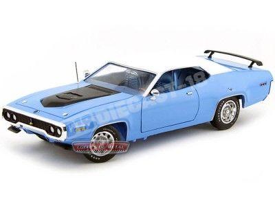1971 Plymouth Road Runner 440 Azul-Blanco 1:18 Auto World AMM1012 Cochesdemetal.es