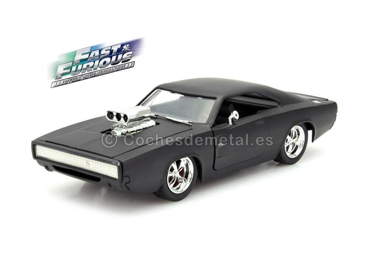 "1970 Dodge Charger Dom ""Fast & Furious IV"" Matt Black 1:24 Jada Toys 97174 Cochesdemetal.es"