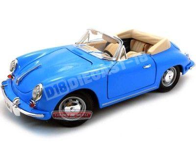 1961 Porsche 356B Cabriolet Azul 1:18 Bburago 12025 Cochesdemetal.es