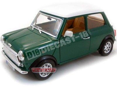 1969 Mini Cooper Verde-Blanco 1:18 Bburago 12036 Cochesdemetal.es