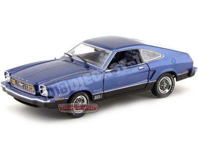 1976 Ford Mustang II Mach 1 Azul 1:18 Greenlight 12868 Cochesdemetal.es