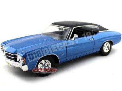 1971 Chevrolet Chevelle Coupé SS 454 Blue-Black 1:18 Maisto 31890 Cochesdemetal.es