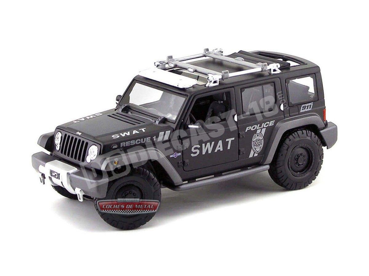 Jeep Wrangler Rescue concept SWAT negro 1//18 maisto modelo coche con o sin