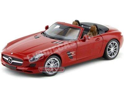 2011 Mercedes-Benz SLS (C197) AMG Roadster Rojo 1:18 Minichamps 100039030 Cochesdemetal.es
