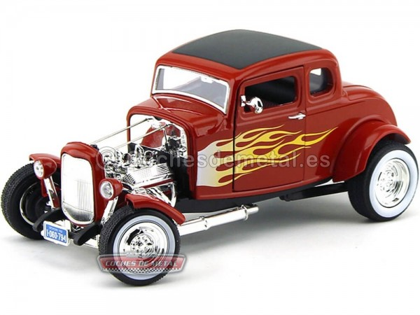 1932 Ford Hot Rod 5-Window Coupe Rojo con llamas 1:18 Motor Max 73172 Cochesdemetal.es