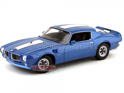 1972 Pontiac Firebird Trans AM Azul-Blanco 1:18 Welly 12566 Cochesdemetal.es