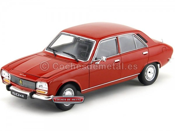 1975 Peugeot 504 Rojo 1:18 Welly 18001 Cochesdemetal.es