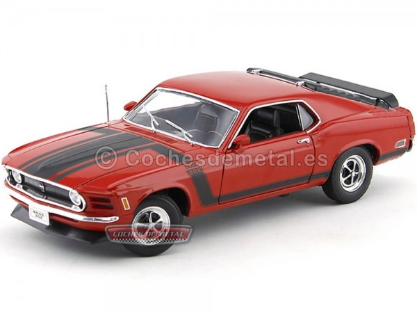 1970 Ford Mustang Boss 302-4V Rojo-Negro 1:18 Welly 18002 Cochesdemetal.es