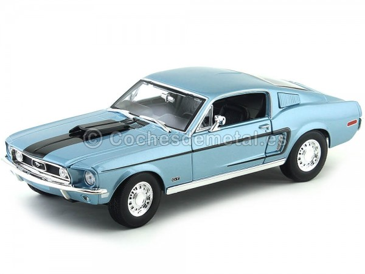 1968 Ford Mustang GT Cobra Jet Azul 1:18 Maisto 31167 Cochesdemetal.es