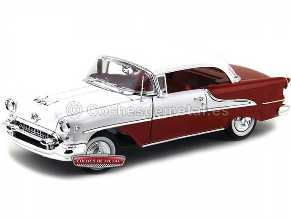 1955 Oldsmobile Super 88 Coupé Blanco-Rojo 1:18 Welly 19869 Cochesdemetal.es