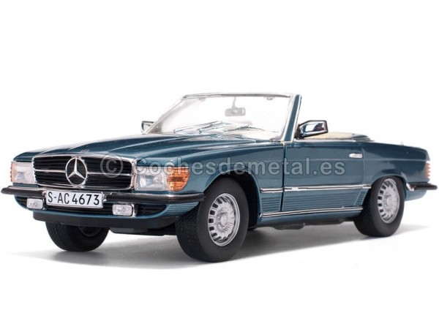 1977 Mercedes-Benz 350 SL W107 Open Convertible Gray Blue Metallic 1:18 Sun Star 4673