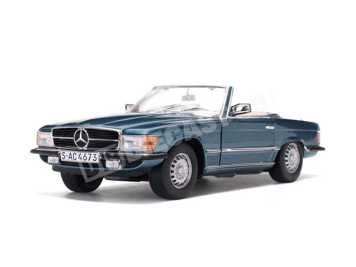 1977 Mercedes-Benz 350 SL W107 Open Convertible Gray Blue Metallic 1:18 Sun Star 4673 Cochesdemetal.es