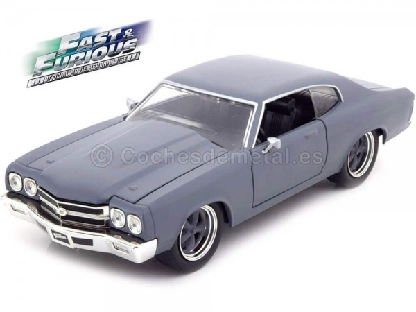 """1970 Chevrolet Chevelle SS """"Fast and Furious IV"""" Gris Mate 1:24 Jada Toys 97835 Cochesdemetal.es"""