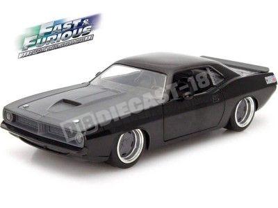 """1970 Plymouth Barracuda """"Fast & Furious"""" Black 1:24 Jada Toys 97195 Cochesdemetal.es"""