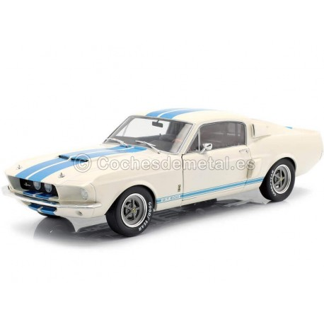1967 Ford Shelby Mustang GT500 White-Blue 1:18 Solido S1802901 Cochesdemetal.es